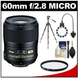 Nikon 60mm f/2.8G AF S ED Micro Nikkor Lens with Tripod + UV Filter + Macro Ring Light + Kit for D3100, D3200, D5100, D5200, D600, D7100, D800, D4 Digital SLR Cameras  Digital Slr Camera Lenses  Camera & Photo