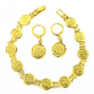 18K Gold Plated Allah Islamic Bracelet and Matching Dangle Earrings Muslim Religious Spiritual: Jewelry