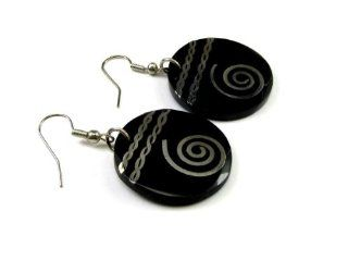 Southwestern Theme Wood Disc Fashion Earrings with Spiral, Maze of Life Decor: Jewelry