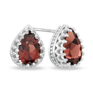 Pear Shaped Garnet Crown Earrings in Sterling Silver   Zales
