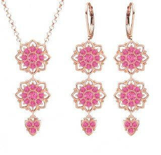European Inspired Floral Jewelry Set: Pendant and Earrings by Lucia Costin with Dots and Pink Swarovski Crystals, Accented with 3 Dangle Stones; 24K Pink Gold Plated over .925 Sterling Silver: Lucia Costin: Jewelry