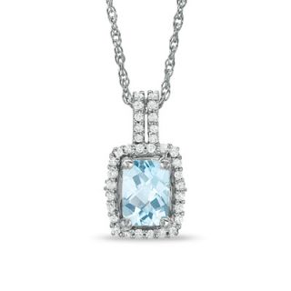 Cushion Cut Aquamarine and White Topaz Framed Pendant in Sterling