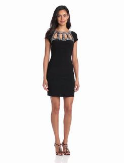 Hailey by Adrianna Papell Women's Embellished Neck Short Sleeve Dress, Black, 4 at  Women�s Clothing store