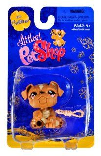 "Hasbro Year 2008 Littlest Pet Shop Single Pack ""Cuddliest"" Series Bobble Head Pet Figure Set #719   Brown Bulldog with ""Dog Rope Toy"" (#68661) Toys & Games"