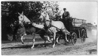 Photo: Ladder truck, fire department, horse drawn wagon, equipment, Columbus, Ohio, OH, c1912   Prints