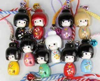 Kokeshi Japanese Wooden Doll Charms   Small, a Set of 10 Pieces: Cell Phones & Accessories