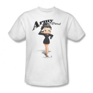 Betty Boop Army and Proud White Adult Shirt BB734 AT: Clothing