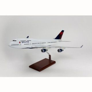B747 400 Delta Quality Desktop Model Plane 1/100 Scale / Unique and Perfect Gift Idea / Museum Quality Handcrafted Commercial Jet Airliner Replica Display / Collectible Gift Toy: Toys & Games