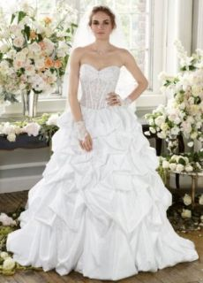 Wedding Dress Pick Up with Illusion Bodice and Lace Up Back at  Women�s Clothing store: Dresses
