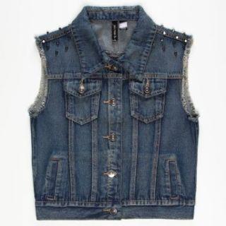 FULL TILT Studded Girls Denim Vest Clothing