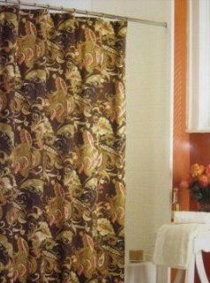 Rainey Paisley Toile Fabric Shower Curtain Fall Color Palatte Rust Sage Brown Taupe