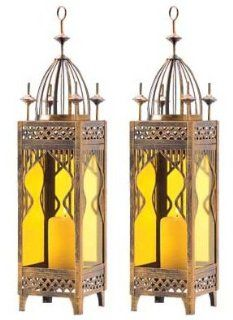 2 Arabian Palace Amber Candle Holder Lanterns