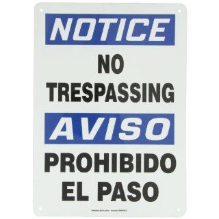 "Accuform Signs SBMATR806VA Aluminum Spanish Bilingual Sign, Legend ""NOTICE NO TRESPASSING/AVISO PROHIBIDO EL PASO"", 14"" Length x 10"" Width x 0.040"" Thickness, Blue/Black on White: Industrial Warning Signs: Industrial & Scientif"