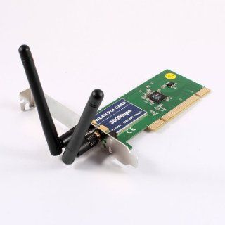 Gino 300Mbps 2.4GHz IEEE 802.11b/g/n PCI Network Wireless WiFi Card Adapter w Antenna Computers & Accessories