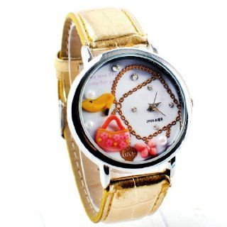 Lovely woman retro mini handbag leather quartz wrist watch dial: Watches