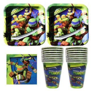 832 Teenage Mutant Ninja Turtles Birthday Party Set Party Supplies Pack for 16 guests   plates, cups, napkins Toys & Games