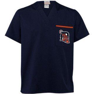 MLB Detroit Tigers Navy Blue Scrub Top (XX Large)  Sports Fan T Shirts  Sports & Outdoors