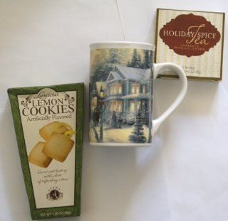 THOMAS KINKADE Painter of Light Christmas Celebration Stoneware Tea / Coffee Mug Gift Set with Cookies & Holiday Spice Tea Bags Kitchen & Dining
