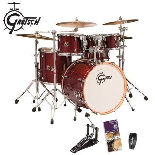 Gretsch Catalina Maple Cherry Gloss 6 Piece Shell Kit (CMT E825P TE)   Bonus! Includes Evans Drumset Survival Guide, LP Rumba Shaker (LP201BK) & Gibraltar Bass Drum Pedal (6611): Musical Instruments