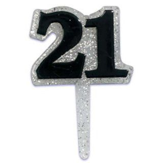 Dress My Cupcake DMC41HB 829SET 21st Birthday Glitter Pick Decorative Cake Topper, Black/Silver, Case of 144: Kitchen & Dining