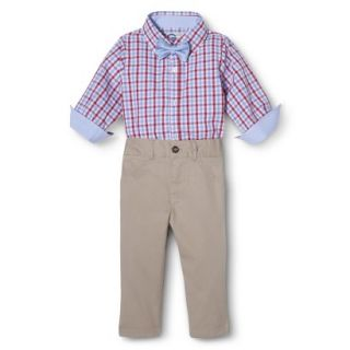 G Cutee Newborn Boys 3 Piece Shirtzie, Pant and Bow Tie   Red Hot 18 M