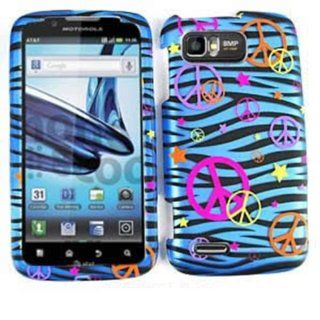 For Motorola Atrix 2 MB865 Case Cover   Peace Signs Blue Zebra Stars Rubberized Pink Yellow Orange Purple TE321 S: Cell Phones & Accessories