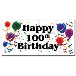 Happy 100th Birthday   3' x 6' Vinyl Banner : Banner And Sign Cloth : Office Products