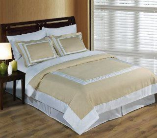 Hotel Wrinkle Free Linen and White 3pc Full / Queen Comforter Cover (Duvet Cover Set) 100 % Egyptian Cotton 300 TC