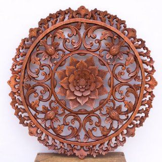 19 Inches Traditional Bali Lotus Flower Carved Round Wooden Wall Panel Architectural   Decorative Plaques