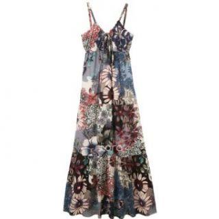 New Fashion Shoulder Straps Bohemia Floral Print Long Maxi Dress Sundress at  Women�s Clothing store