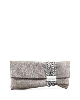Chandra Metallic Chain Clutch Bag, Platinum   Jimmy Choo