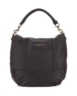 Ramona Pebbled Leather Hobo Bag, Black   Liebeskind