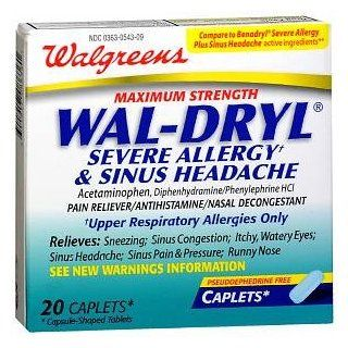 Walgreens Wal Dryl Severe Allergy & Sinus Headache, Caplets, 20 ea: Health & Personal Care