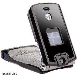Black Hard Plastic Carry Case With Black Metal Stainless Steel Protective Cover For Motorola Razr V3 V3c V3m Moto T Mobile Verizon Cellular Phone Sold By TopDeals888