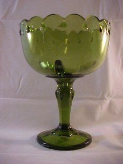 Vintage Green Indiana Glass Teardrop Goblet Planter Vase Pedestal Compote Bowl Kitchen & Dining