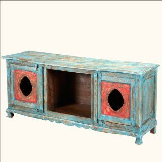 """59"""" Hand Painted Oklahoma Farmhouse Vintage TV Stand Console   Furniture"""