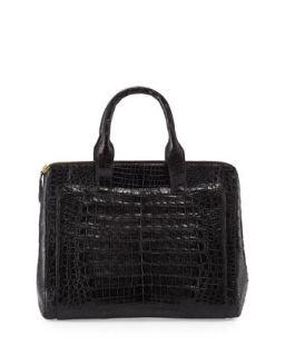 Crocodile Large Zip Tote Bag, Black   Nancy Gonzalez