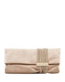Chandra Shimmer Suede Chain Clutch Bag, Champagne   Jimmy Choo