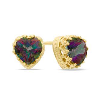 0mm Heart Shaped Rainbow Quartz Crown Earrings in Sterling Silver