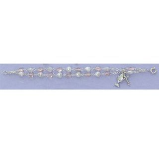 """Great for First Communion, 6.5"""" Girls Rosary Bracelet, Pink Crystal Heart Shaped Beads, White Pearl Heart Shaped Beads, Double Strand, Crucifix and Chalicel Charms. Jewelry"""
