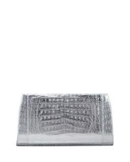 Metallic Crocodile Slicer Clutch Bag, Silver   Nancy Gonzalez