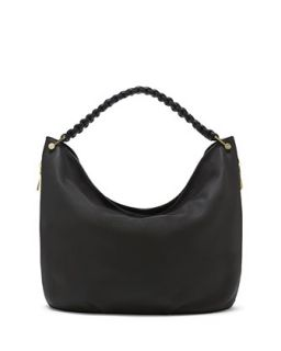 Nora Knotted Pebbled Leather Hobo Bag, Black   VC Signature