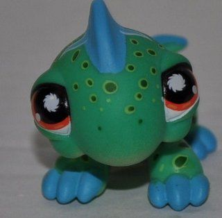 Iguana #906 (Green, Blue Spikes, Orange Eyes, White Triangles, Black Dots) Littlest Pet Shop (Retired) Collector Toy   LPS Collectible Replacement Single Figure   Loose (OOP Out of Package & Print)