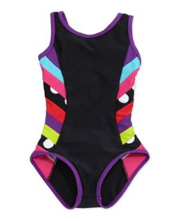 Chloe Side Striped One Piece Racerback Swimsuit, 7 14