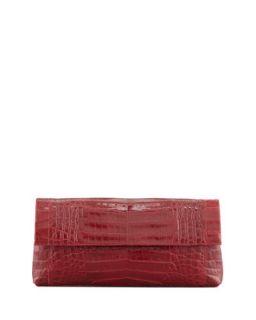 Soft Flap Crocodile Clutch Bag, Red   Nancy Gonzalez