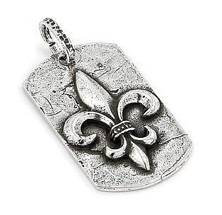 Sterling Silver Hammer Finish Fleur De Lis Dog Tag: West Coast Jewelry: Jewelry
