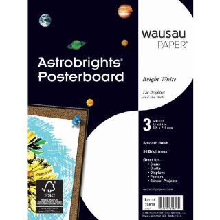 Wausau Paper Astrobrights Premium Poster Board, 3 Sheets, Bright White, 22 x 28 Inch (70619) : Ordinary Display Boards : Office Products