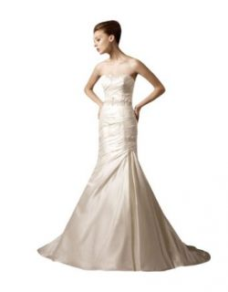 Wabl New 2014 Soft Pearl Pink Satin Pleated Sheath Wedding Dress Free Gift at  Women�s Clothing store