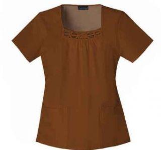 Cherokee Uniforms Square Neck Scrub Top with Unique Contrast Soutache Neck Trim Clothing