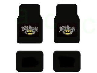 A Set of 4 Batman The Dark Kinight Universal Fit Plush Carpet Floor Mats For Cars / Trucks and One Batman Black Emblem in Silver Reflector Sure Grip Steering Wheel Cover: Automotive